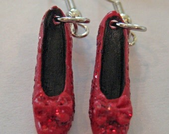 Ruby Red Slipper Earrings - Wicked Necklace - Wizard of Oz Earrings -  Shoe Earrings