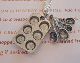Cupcake Muffin Pan Necklace , Baker Necklace, Pewter Culinary Gift, Food Necklace, Food Jewelry, Chef Jewelry