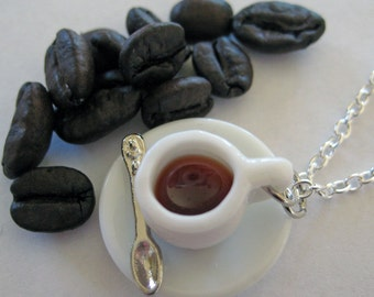 Cup of Coffee Necklace - Food Jewelry - Food Necklace - Coffee Lover