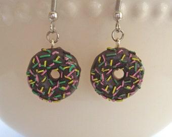 Chocolate Sprinkle Donut Earrings - Food Jewelry