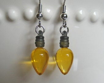 Holiday Light Bulb Earrings - Old Fashioned Yellow - Christmas Lights