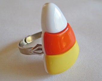 Food Jewelry - Candy Corn Button Ring - Halloween