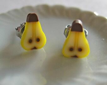 Food Jewelry - Pear Earrings - Food Earrings - Polymer Clay - Fruit Earrings - Fruit Jewelry