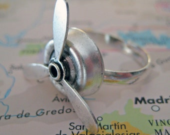 Airplane Propeller - Spinning Ring - Aviation Jewelry - MIlitary Gift - Pilot Wife