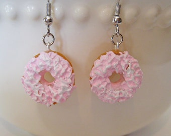 Pink Frosted Donut Earrings - Food Jewelry -