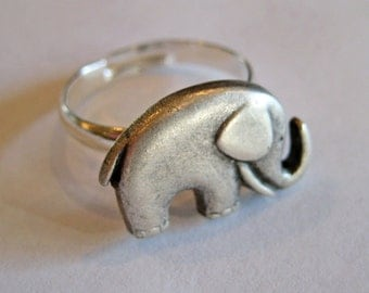 Elephant Ring - Good Luck Ring - Elephant Jewelry - Antiqued Silver - Lucky Ring