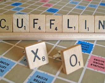 Scrabble Tile Cufflinks - Personalized Gift - Initial Cufflinks - Gifts for Him - Best Man Gift