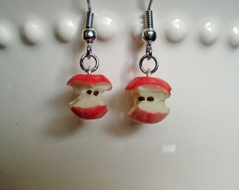 Red Apple Core Earrings - Food Jewelry