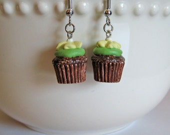 Chocolate Cupcake Earrings - Food Jewelry