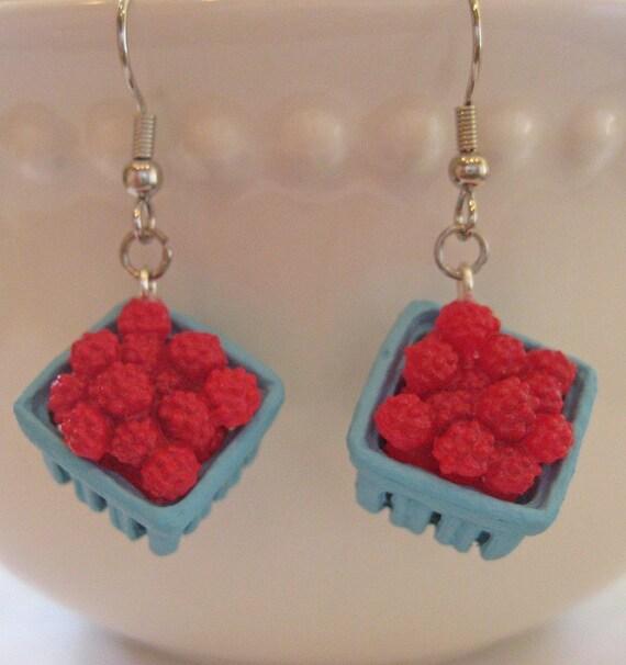 Mini Food Jewelry - Pint of Raspberries Earrings