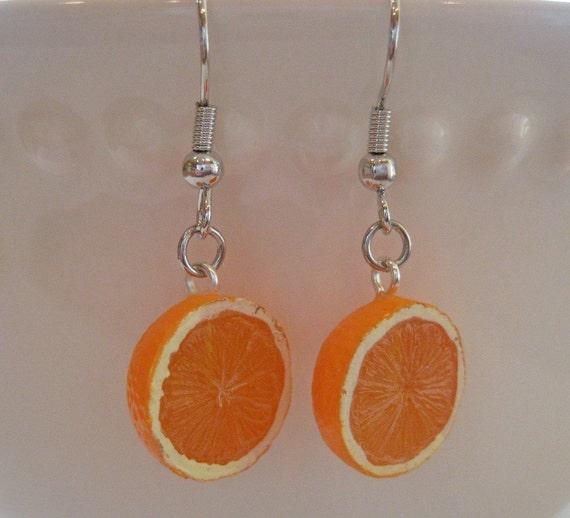 Mini Food Jewelry - Juicy Orange Half Earrings