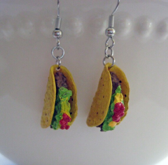 Mini Food Jewelry - Taco Dangle Earrings - Food Earrings