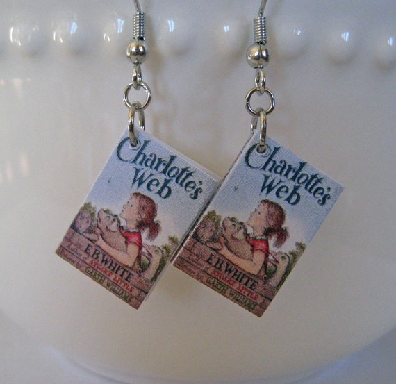 Charlotte's Web Book Earrings - Surgical Stainless Steel