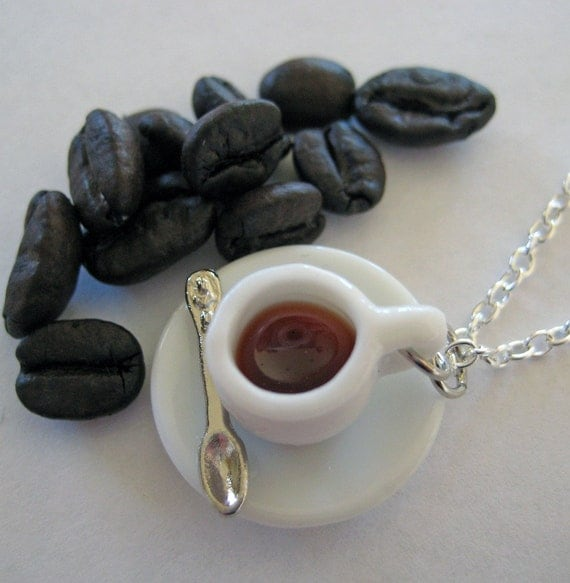 Cup of Coffee Necklace - Food Jewelry