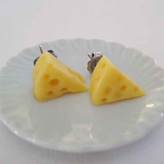 Food Jewelry - Cheese Wedge Post Earrings - Polymer Clay Earrings