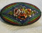 turquoise & roses glass micromosaic pin
