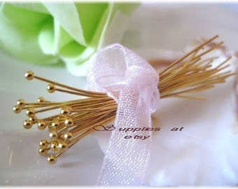 sale Long Gold Ball Pins 35mm -Fancy Gold plated ball round head pins Findings