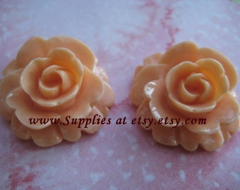 Special SALE  light Salmon Rose Cabochon 25mm- Vintage Style Large  pastel Salmon  flowers for hair clips or bobbi pins