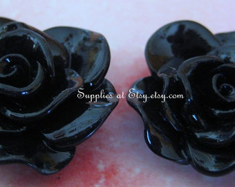 Flower cabochon-SALE Black Rose Cabochon 30mm- Vintage Style Large black flowers for bobbi pins diy