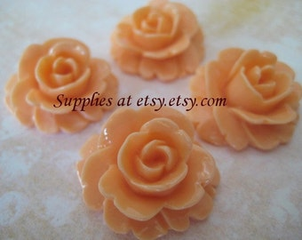 Peach carver rose,resin cabochon flower 25mm-Vintage Style Large pastel peach flowers for hair clips or bobbi pins