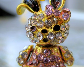 Sale Crystal Rhinestone  Bunny with bow tie Charm pink gold and Black-lucky Rabbit Rhinestone pendant charm