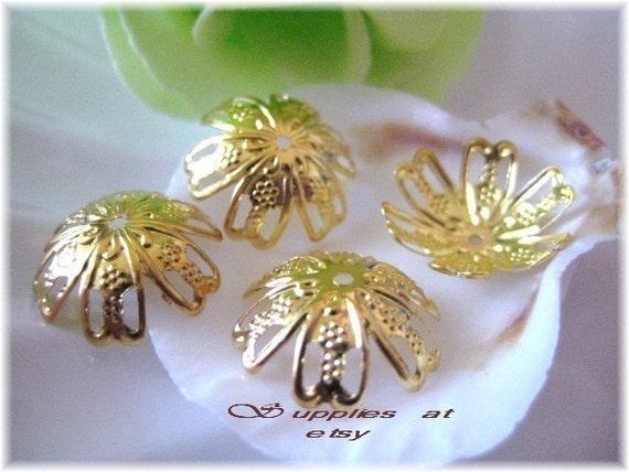 Best Deal on Etsy 30pcs Gold FILIGREE CAPS  16mm-Flexible fancy filigree gold plated bead caps