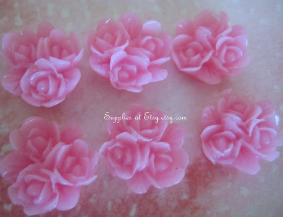 Special SALE   Pink Floral cluster  cabochon flat back 15mm-  cabochon flowers for hair clips or bobbi pins