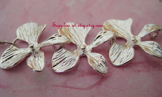 Special Sale 2pcs Orchid Flower Pendant Center piece-  Brass Silver lotus leaves Branch connector Charm