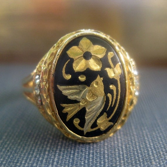 Vintage Damascene Bird Ring