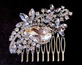 Crystal Rhinestone  Hair Piece ( Bridal Hair Comb Swarovski Crystal)
