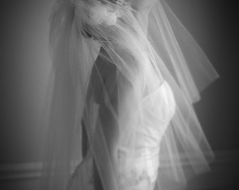 Wedding bridal veil, Hair accessories for the bride, bridal piece, white or ivory,