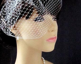 Bridal Birdcage Veil, Wedding Veil, Blusher Veil, Wedding hair accessories,bridal veil