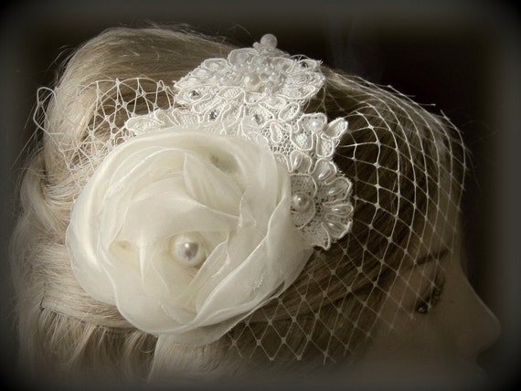 Bridal hairpiece Wedding Headband ivory french veil,wedding hairpiece mini birdcage veil  Birdcage veil Blusher and flower