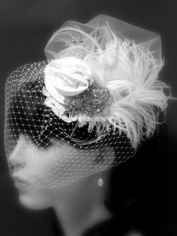 Vintage Hat with Attached Flowers and Russian tulle Blusher-  Feathers and  Birdcage Veil, Swarovski Rhinestone Embellishment.
