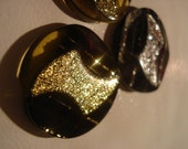 3 lightning bolt black and glitter buttons
