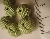lime green fabric covered beads (No. 6)