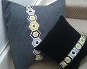 Large Charcoal Grey Wool Felt Cushion / Pillow
