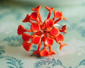 Autumn fireworks - ring with vintage enamel flower