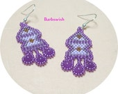 Native American Style Seed Bead Earrings Hand Woven  Majestic Purple