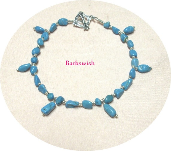 Handcrafted Chalk Turquoise Anklet with Drops