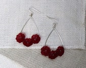 Silver Hoops with Red Lucite Flowers
