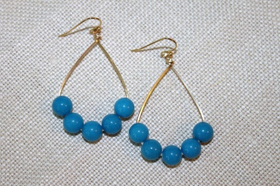 SALE - Gold Hoops with Turquoise Beads