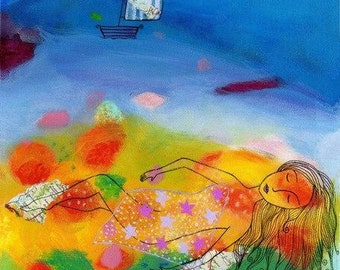Travelling Dreams. Art print from my mixed media painting.