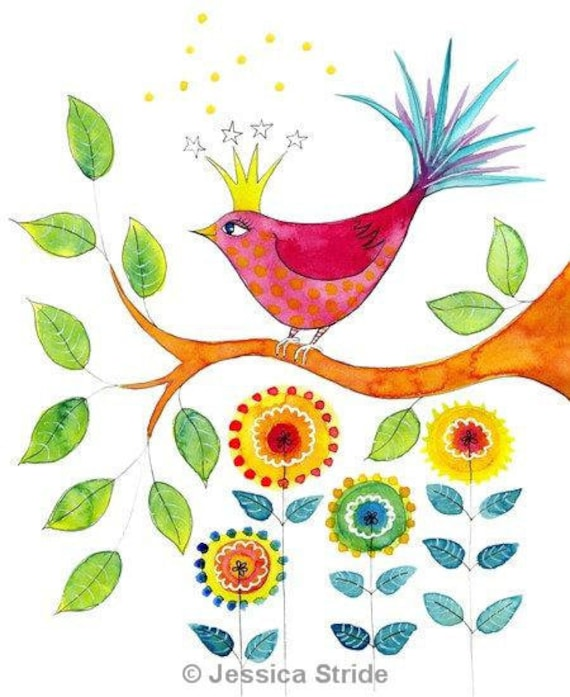 Crowned Bird. Art print from my watercolour painting. colorful flowers