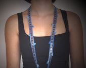 CORNFLOWERBLUE... Crochet Necklace \/ Scarflette \/ Cuff