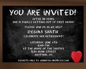 Chalkboard Teacher Retirement Party Invitation