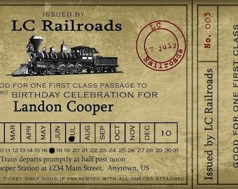 "Vintage Train Ticket Party Invitation - 4x8"""