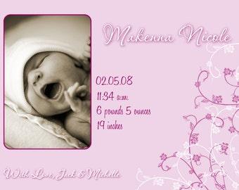 Custom Photo Birth Announcement