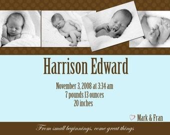 Custom Photo Birth Announcement - Harrison