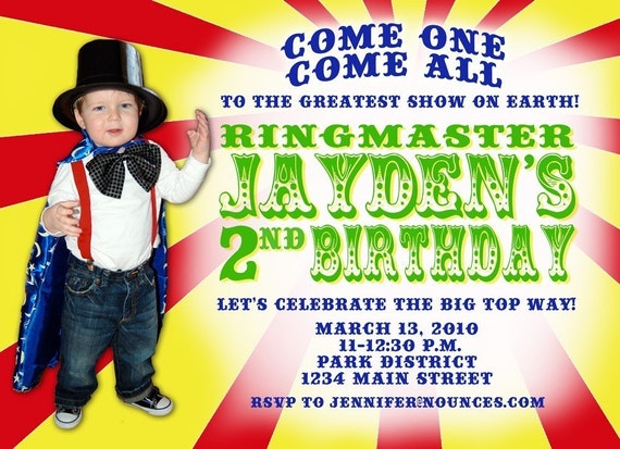 Fun Circus Birthday Invitation - With or Without Photo